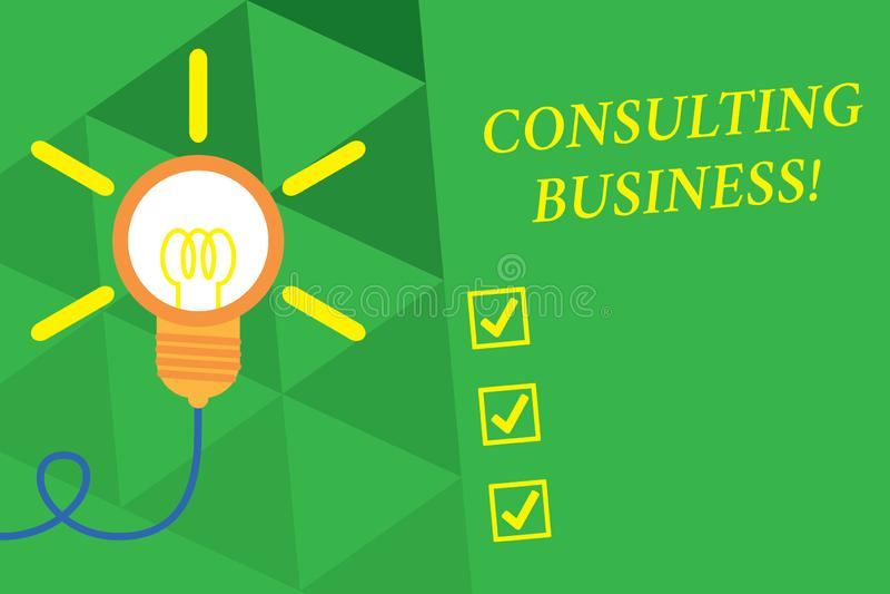 Konsulterande aff?r f?r ordhandstiltext Affärsidéen för experter för konsulteringfirma ger yrkesmässig rådgivning stor idé vektor illustrationer