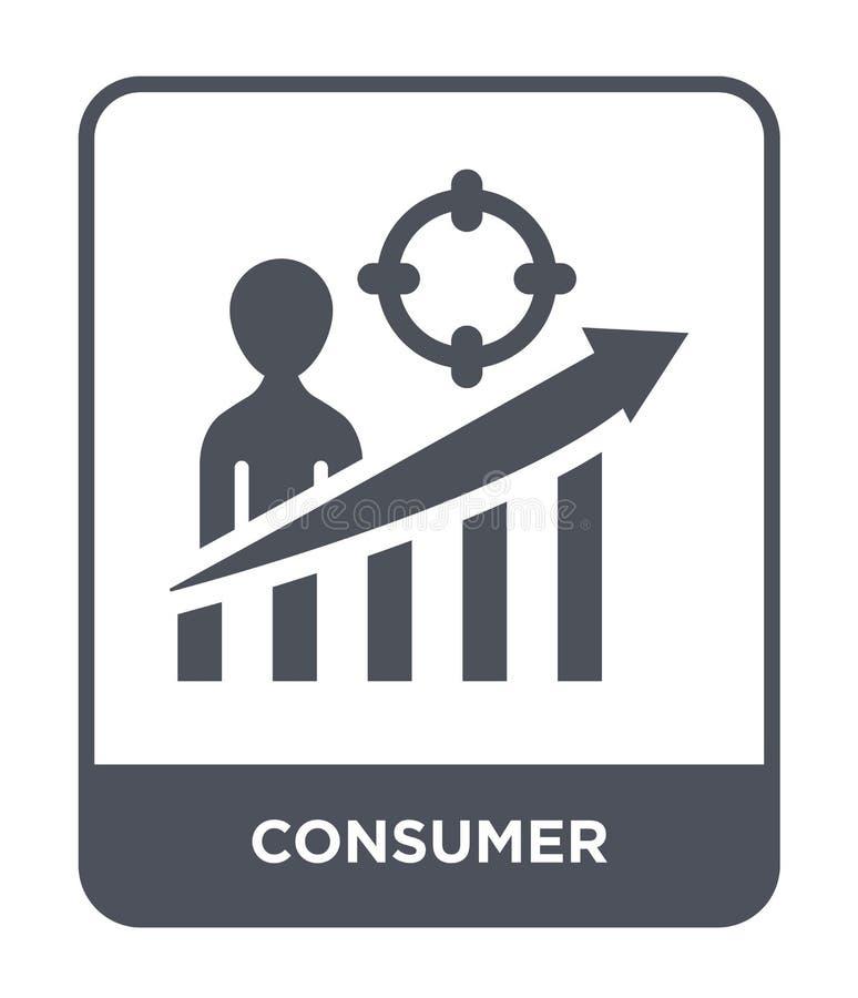 konsumentsymbol i moderiktig designstil konsumentsymbol som isoleras på vit bakgrund enkel och modern lägenhet för konsumentvekto vektor illustrationer