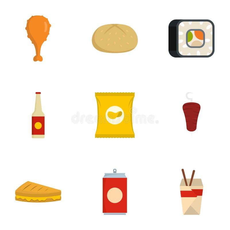 Konsumera symboler ställer in, plan stil stock illustrationer