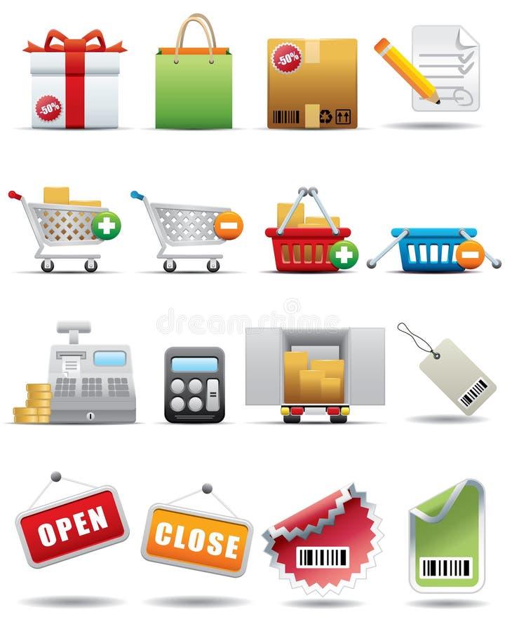 konsumeryzmu ikony premii serie ustalony zakupy ilustracji