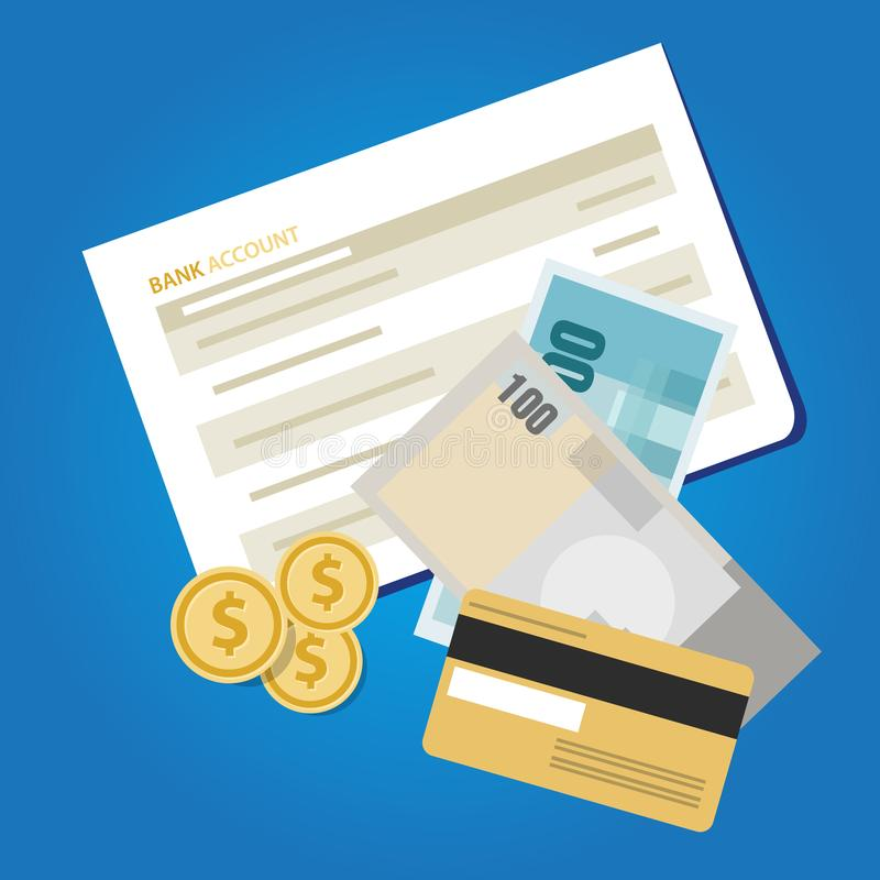 Konta bankowe oświadczenia papierowego pieniądze finanse książkowi savings inwestują gotówkowego przedmiot ilustracja wektor