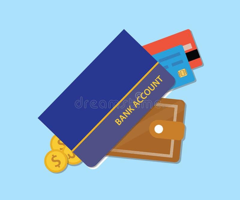 Konta bankowe rezerwują z portfel kredytową kartą pieniądze i royalty ilustracja