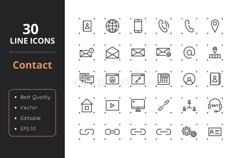 30 kontaktów Kreskowych ikon ilustracja wektor