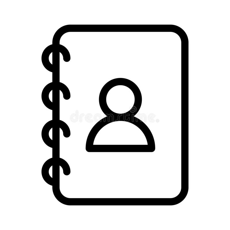 Kontakt-Buch-d?nne Linie Vektor-Ikone vektor abbildung
