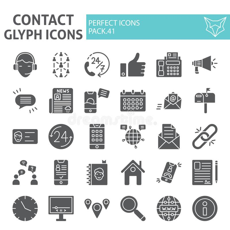 Kontakt Glyph-Ikonensatz, Kommunikationssymbole Sammlung, Vektorskizzen, Logoillustrationen, Kontaktdatenzeichen stock abbildung