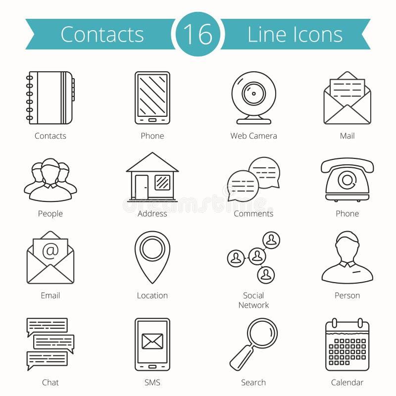 Kontakt-Linie Ikonen lizenzfreie abbildung