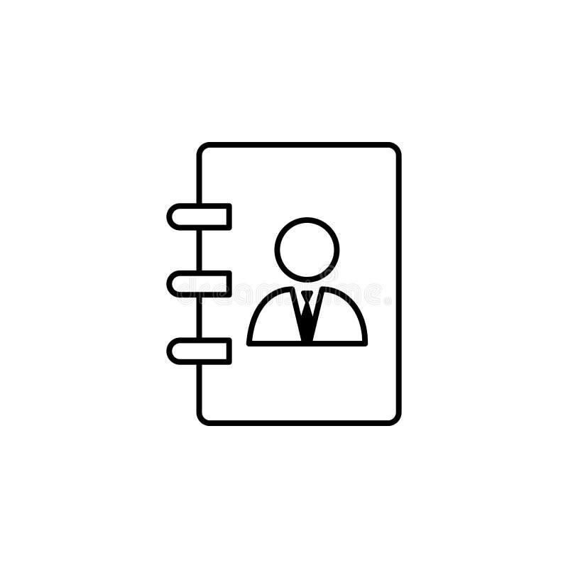 Kontakt, Liste, Geschäftsmannikone auf weißem Hintergrund Kann für Netz, Logo, mobiler App, UI, UX verwendet werden stock abbildung