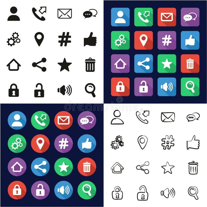 Kontakt-Menü-Ikonen alle in den Ikonen eine schwarz u. im weiße Farbflachen Design freihändig eingestellt lizenzfreie abbildung