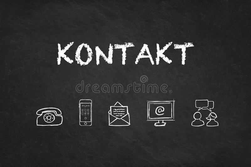 `Kontakt` text and icons on a blackboard. Translation: `Contact` royalty free illustration