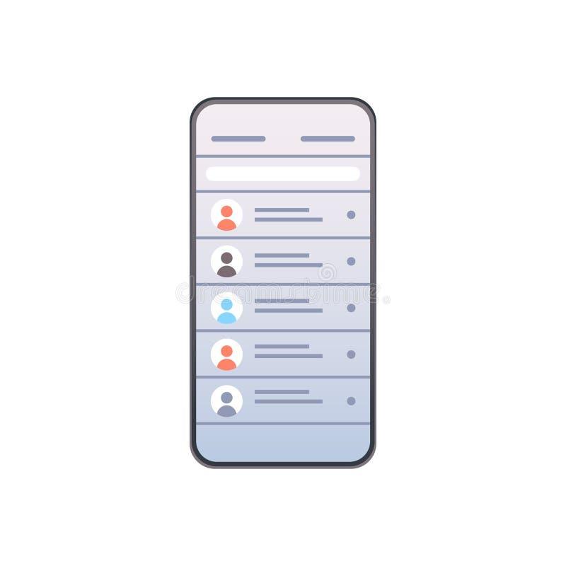 Kontakta listan av för nätverksbegrepp för folk mobilen för prata och för messaging för skärm för kontakter för social smartphone royaltyfri illustrationer