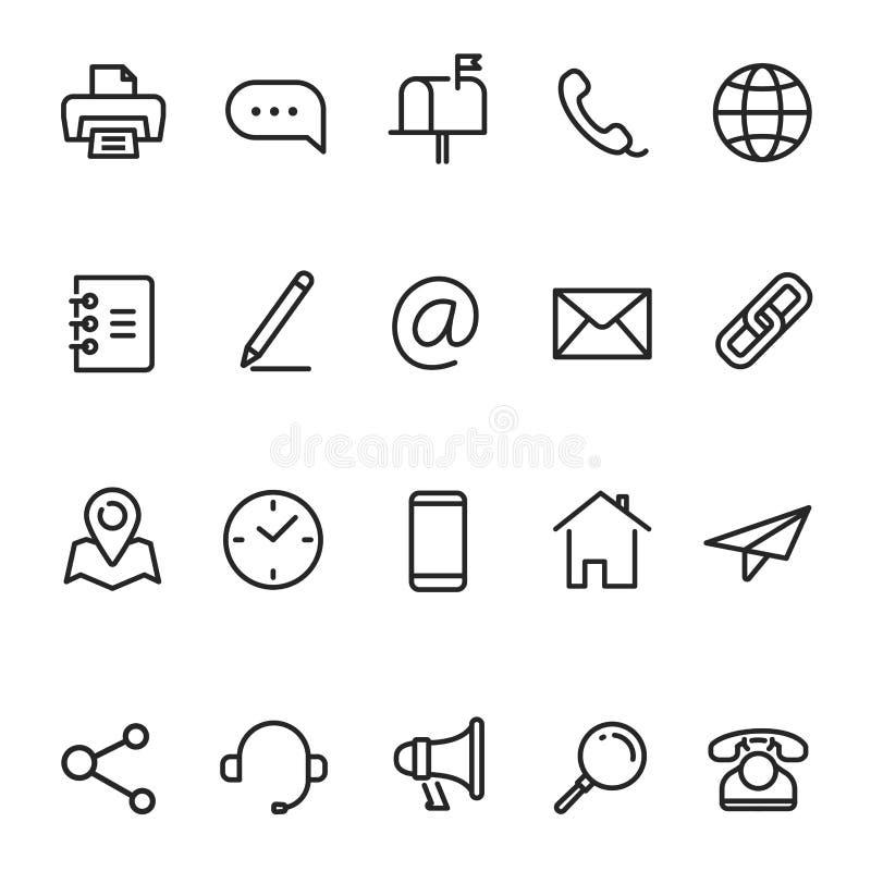 Kontakta oss, affärskommunikationslinjen symbolsuppsättning royaltyfri illustrationer