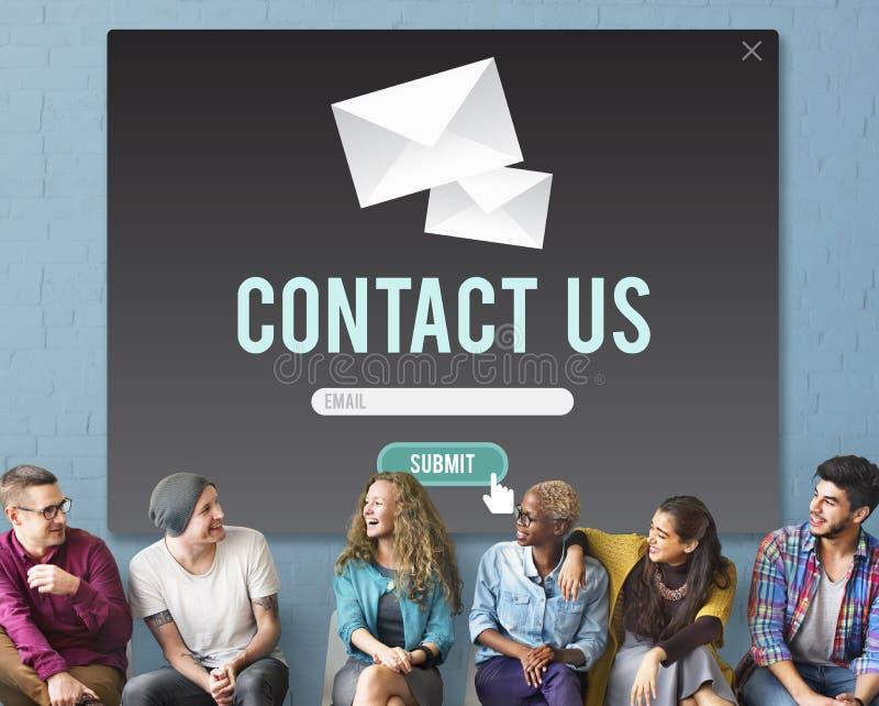 Kontakta oss begreppet för hjälp för hjälpaffärskontakten royaltyfri foto