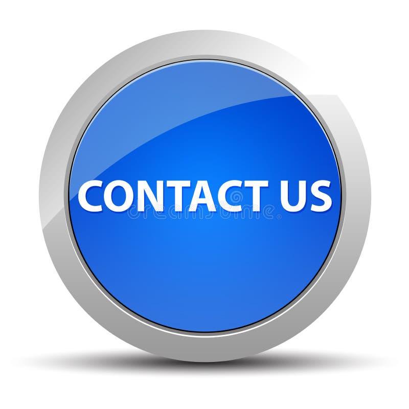 Kontakta oss den blåa runda knappen vektor illustrationer