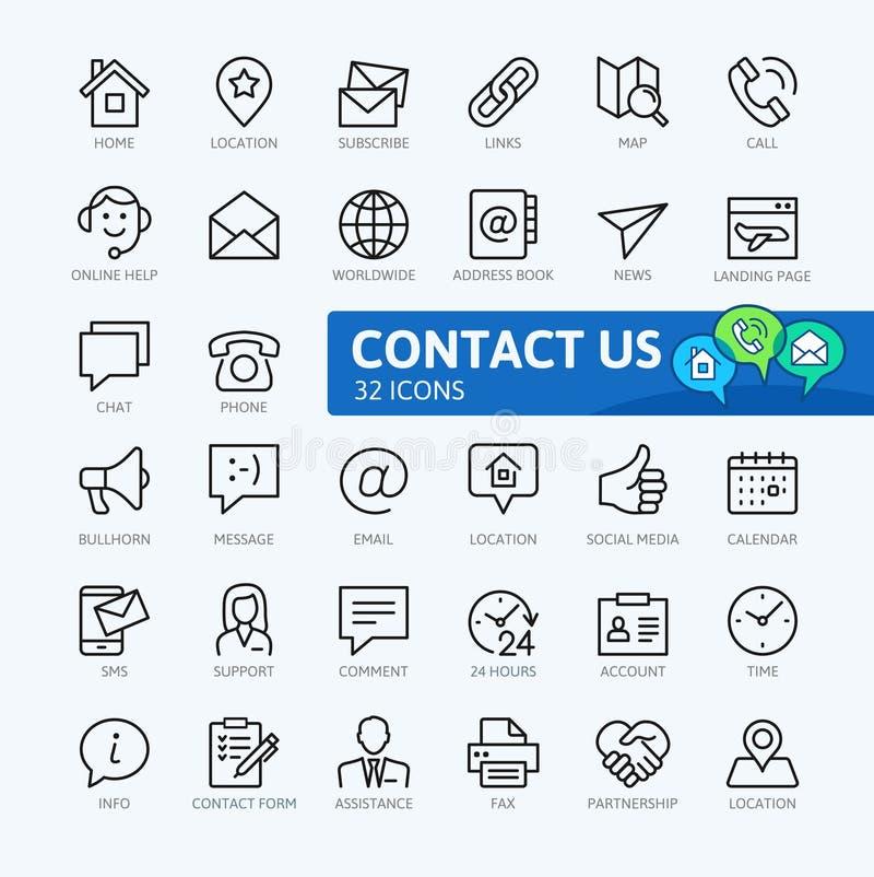 Kontakta oss - den minsta tunna linjen rengöringsduksymbolsuppsättning stock illustrationer