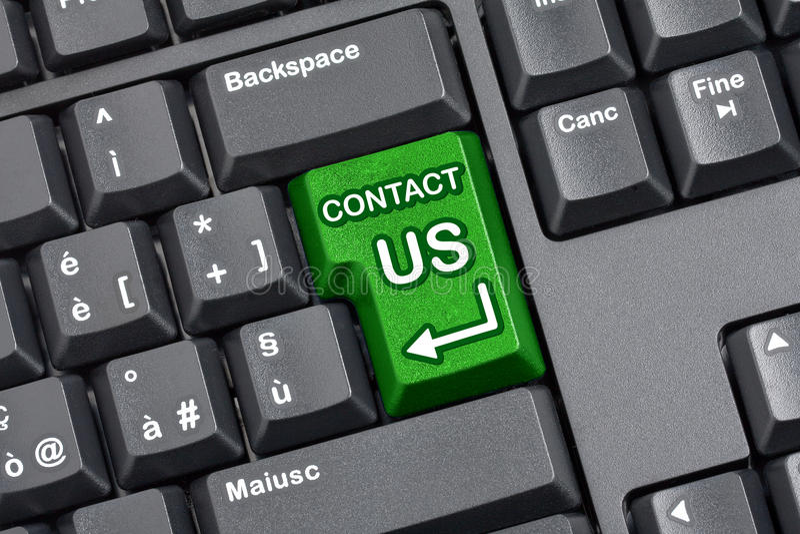 Kontakta oss det nyckel- datortangentbordet arkivfoto