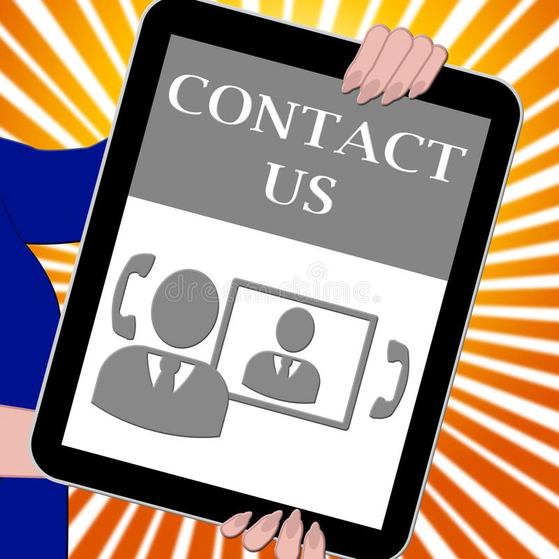 Kontakta oss illustrationen för minnestavlahjälpmedelkundtjänst 3d royaltyfri illustrationer