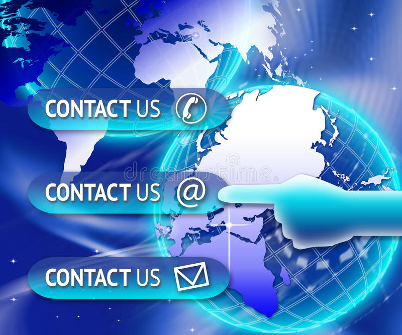 Kontakta oss knappvärlden vektor illustrationer