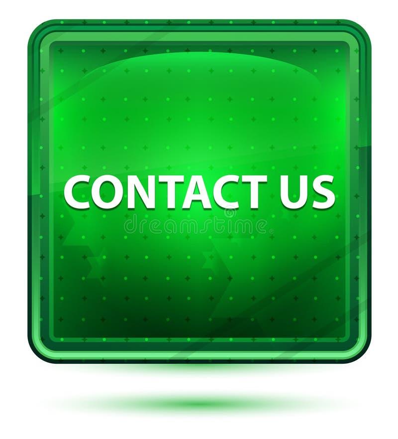 Kontakta oss neonljus - grön fyrkantig knapp stock illustrationer