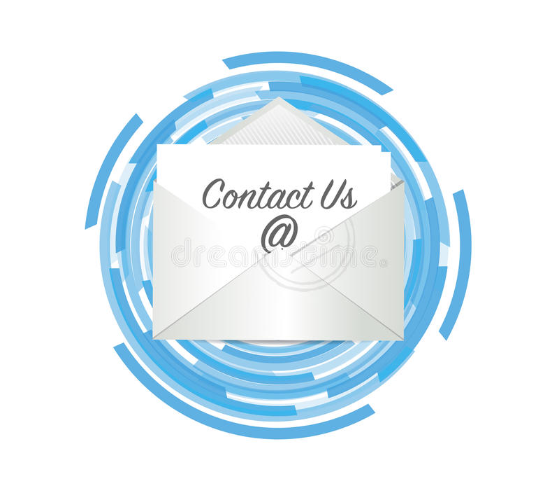 kontakta oss post över en techfärgcirkulering vektor illustrationer