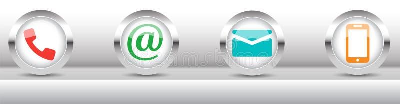 Kontakta oss rengöringsdukknappuppsättningen royaltyfri illustrationer