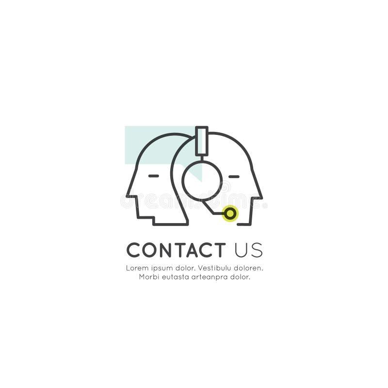 Kontakta oss, sammanfogar vårt lag, den Bio sammanlänkningen, informationssidan, mänsklig profil med hörlurar, om oss royaltyfri illustrationer