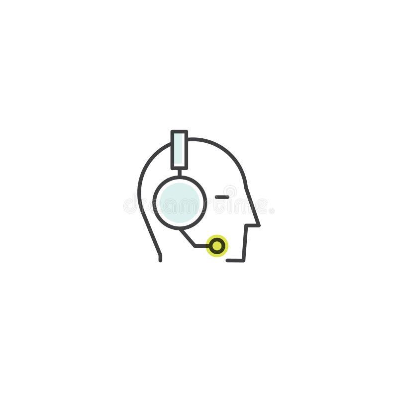 Kontakta oss, sammanfogar vårt lag, den Bio sammanlänkningen, informationssidan, mänsklig profil med hörlurar, om oss stock illustrationer