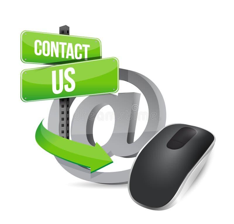 Kontakta oss. Trådlös datormus vektor illustrationer