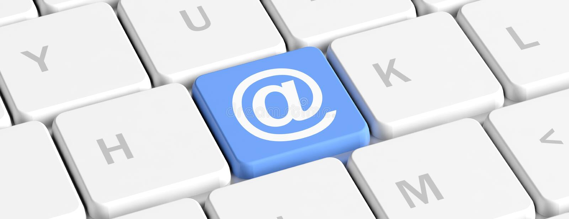 kontakta post phone oss Blå nyckel- knapp med det blåa tecknet på ett datortangentbord, baner illustration 3d royaltyfri illustrationer