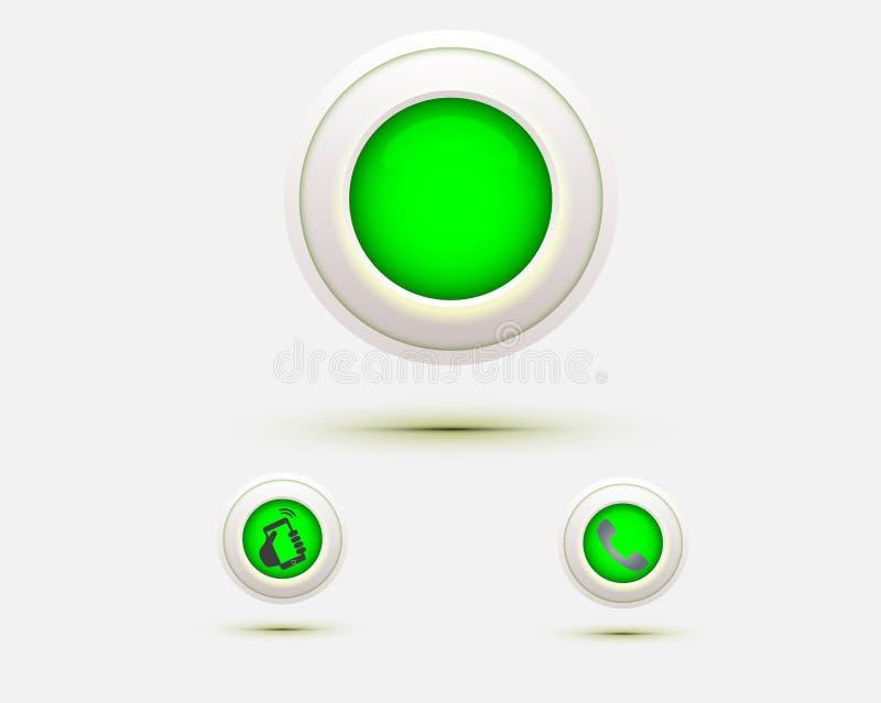 Kontaktar den runda symbolen för gröna rengöringsdukknappar oss direkt servicetelefonpratstund stock illustrationer