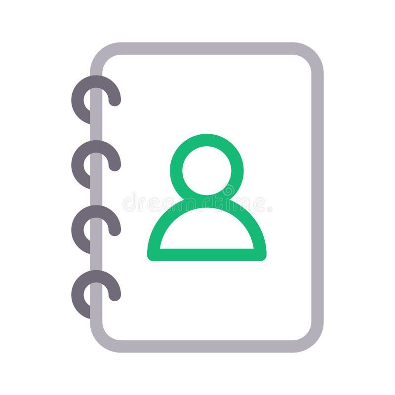 Kontaktbuch-Farblinie Vektorikone lizenzfreie abbildung
