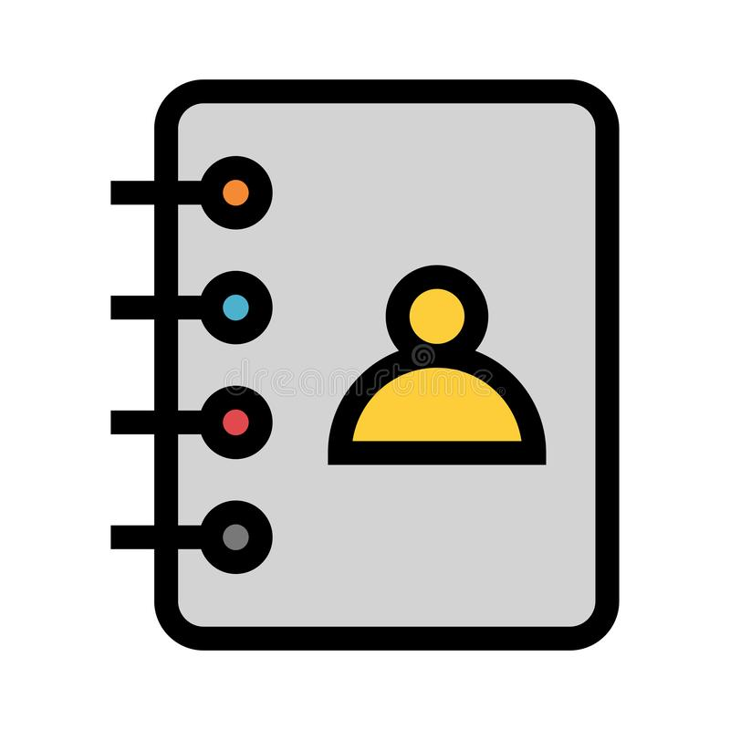 Kontaktbuch-Farblinieikone vektor abbildung