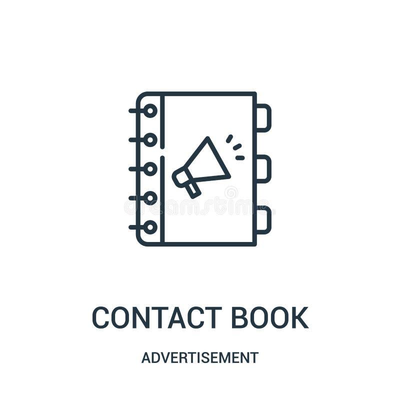 Kontaktbuch-Ikonenvektor von der Anzeigensammlung Dünne Linie Kontaktbuchentwurfsikonen-Vektorillustration vektor abbildung