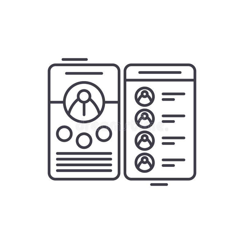 Kontaktbuchlinie Ikonenkonzept Lineare Illustration des Kontaktbuch-Vektors, Symbol, Zeichen stock abbildung