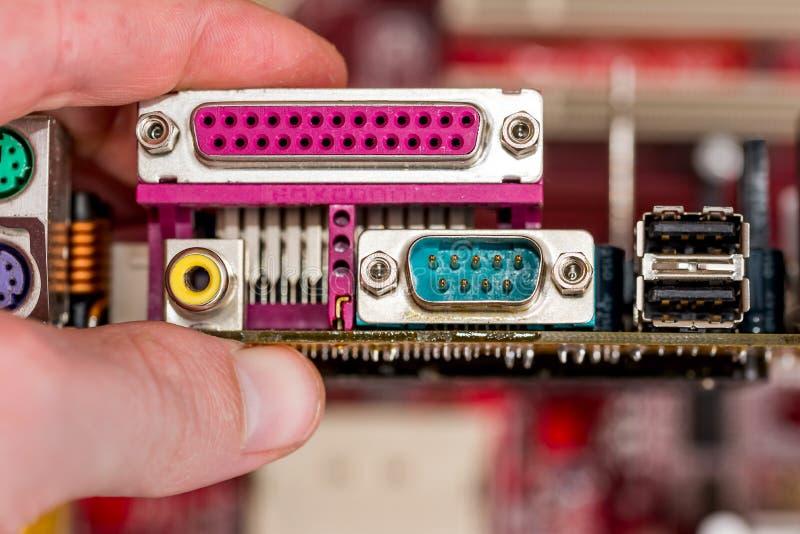 Kontaktdon av datormoderkortet fotografering för bildbyråer