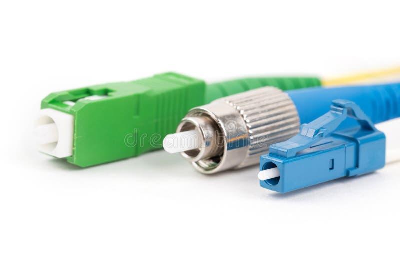 Kontaktdon för enkelt funktionsläge för fiber optiska arkivfoton
