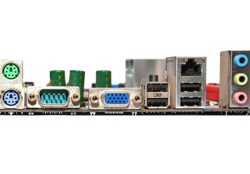 Kontaktdon för tillbaka panel av det moderna datormoderkortet royaltyfri bild