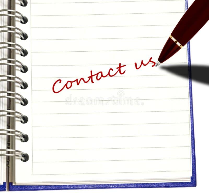kontakten pen oss writing arkivbilder