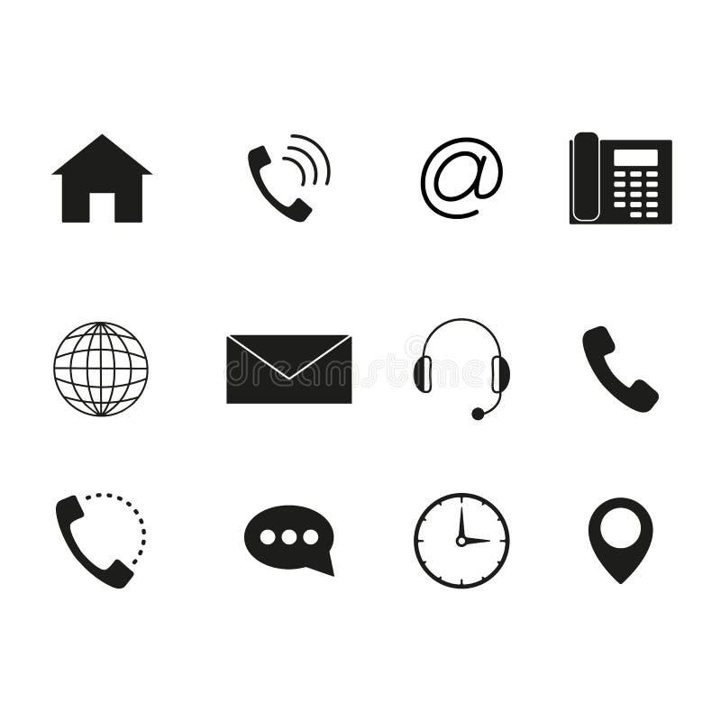 Kontakten till oss symboler ställde in av svart royaltyfri illustrationer