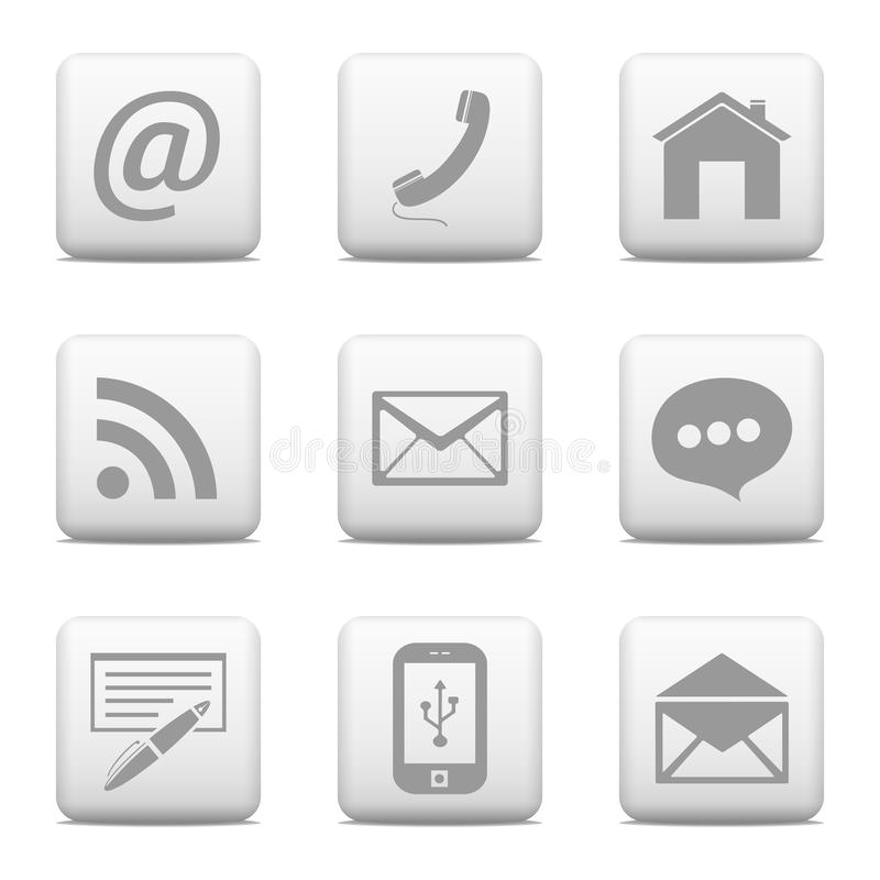 Kontaktknöpfe eingestellt, E-Mail-Ikonen stock abbildung