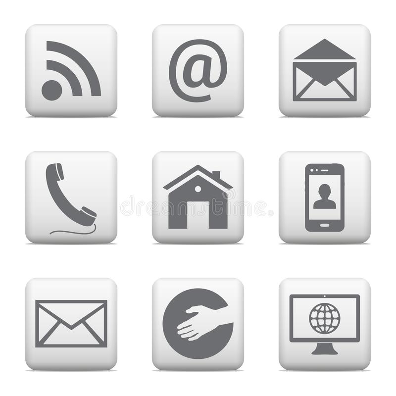 Kontaktknöpfe stellten, E-Mail-Ikonen für Website ein lizenzfreie abbildung