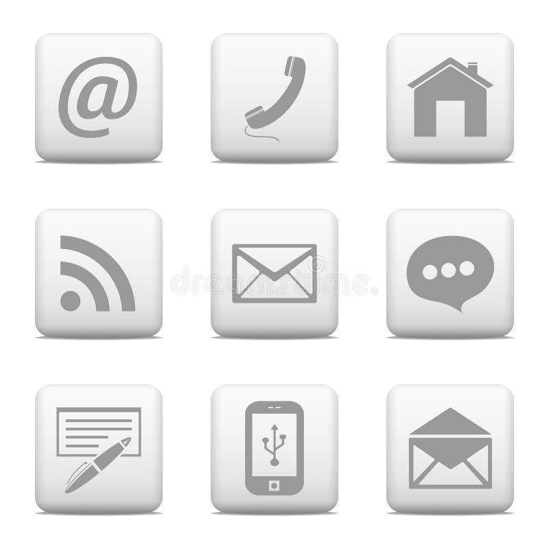 Kontaktknappar uppsättning, mejlsymboler stock illustrationer