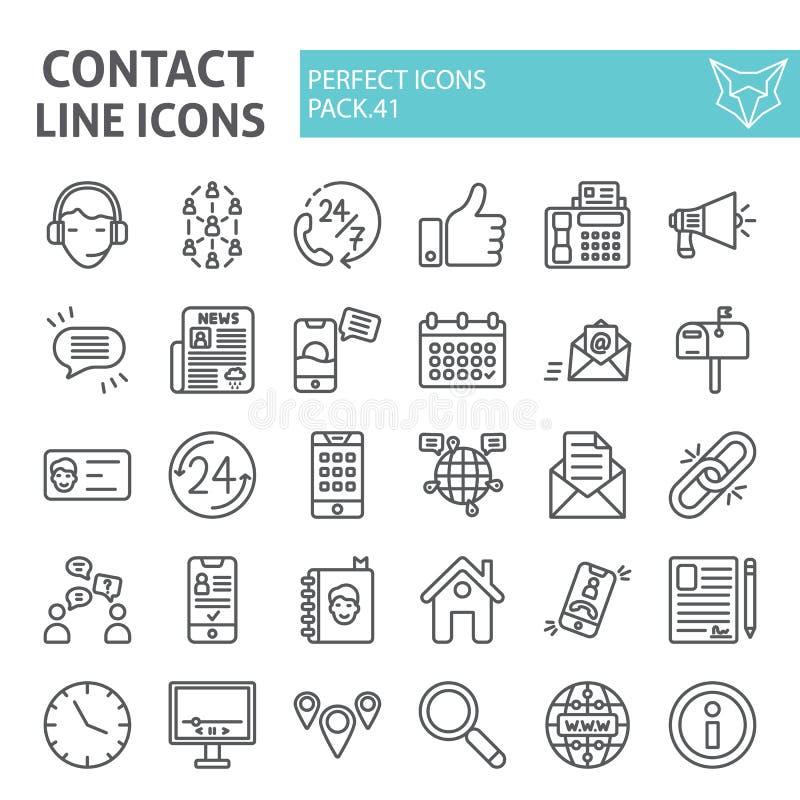 Kontaktlinjen symbolsuppsättningen, kommunikationssymboler samlingen, vektor skissar, logoillustrationer, tecken för information  royaltyfri illustrationer