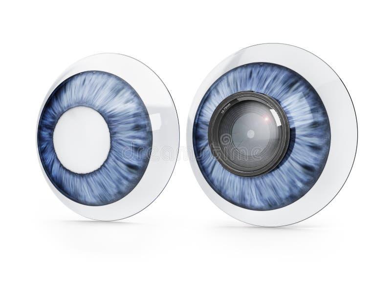 Kontaktlinser med zoomobjektivet royaltyfri illustrationer