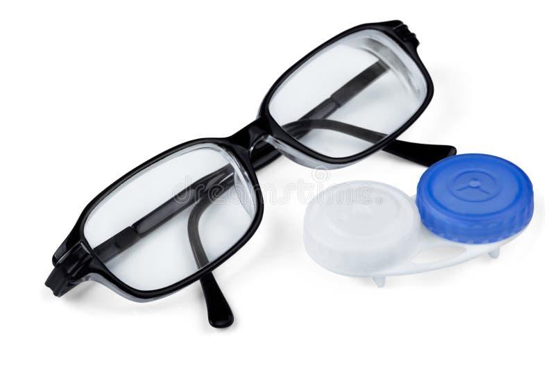 Kontaktlinser och exponeringsglas arkivfoto
