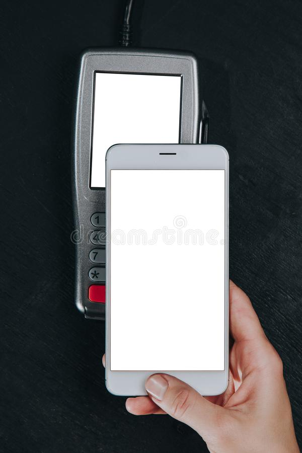Kontaktlose Smartphone-Zahlung stockfotos