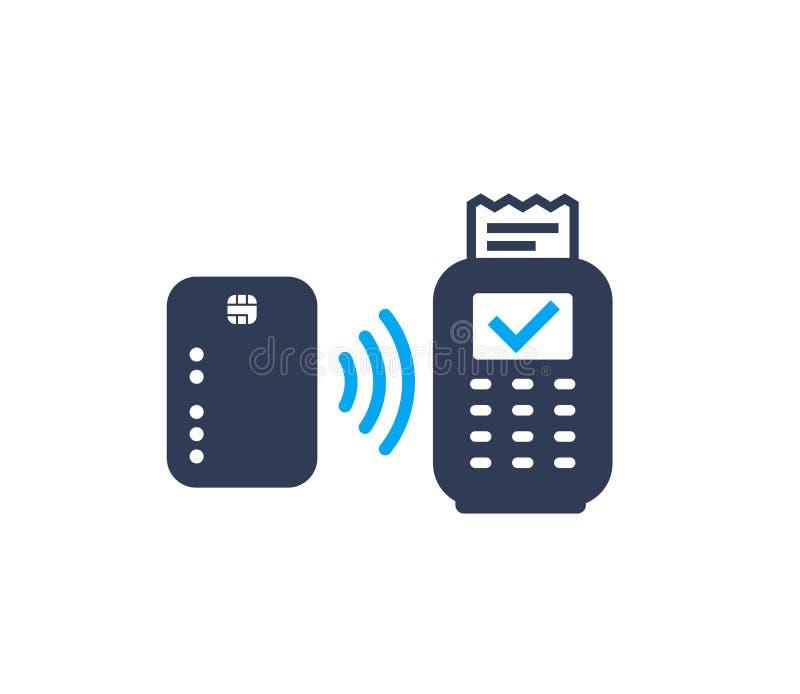Kontaktlose Zahlung, Karte und Positionsterminalikone lizenzfreie abbildung