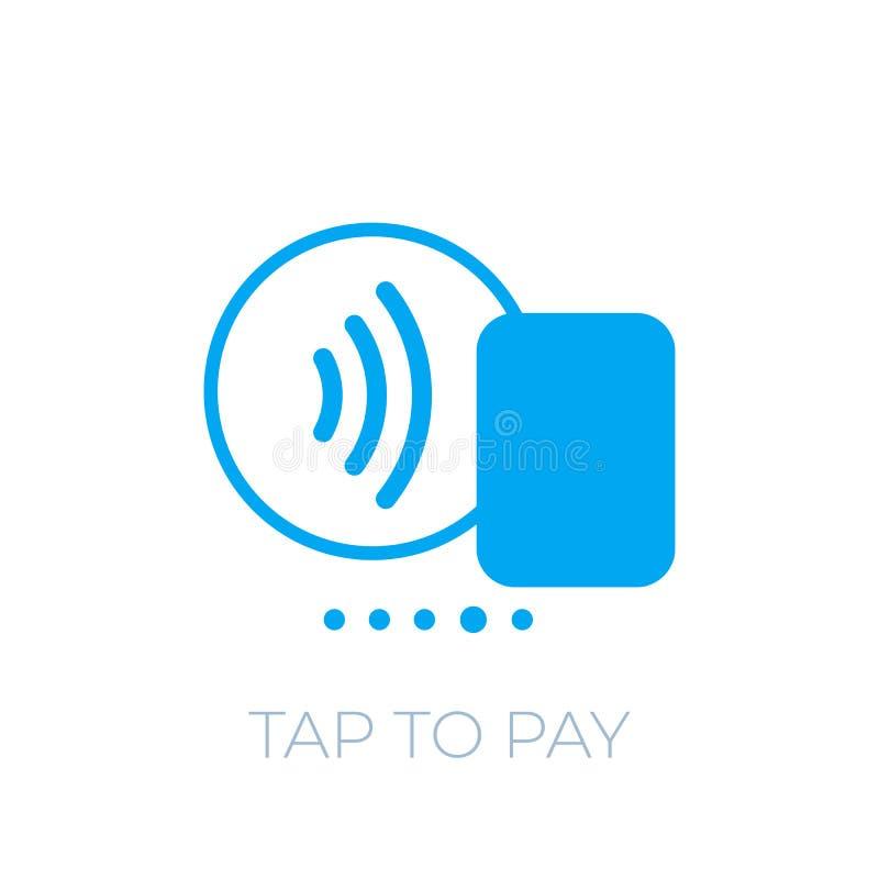 Kontaktlose Zahlung mit Kartenikone, klopfen, um zu zahlen lizenzfreie abbildung