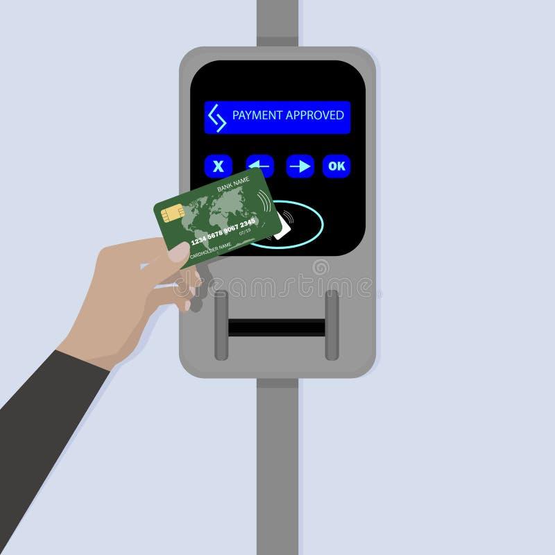 Kontaktlose Zahlung mit Kreditkarte lizenzfreie abbildung