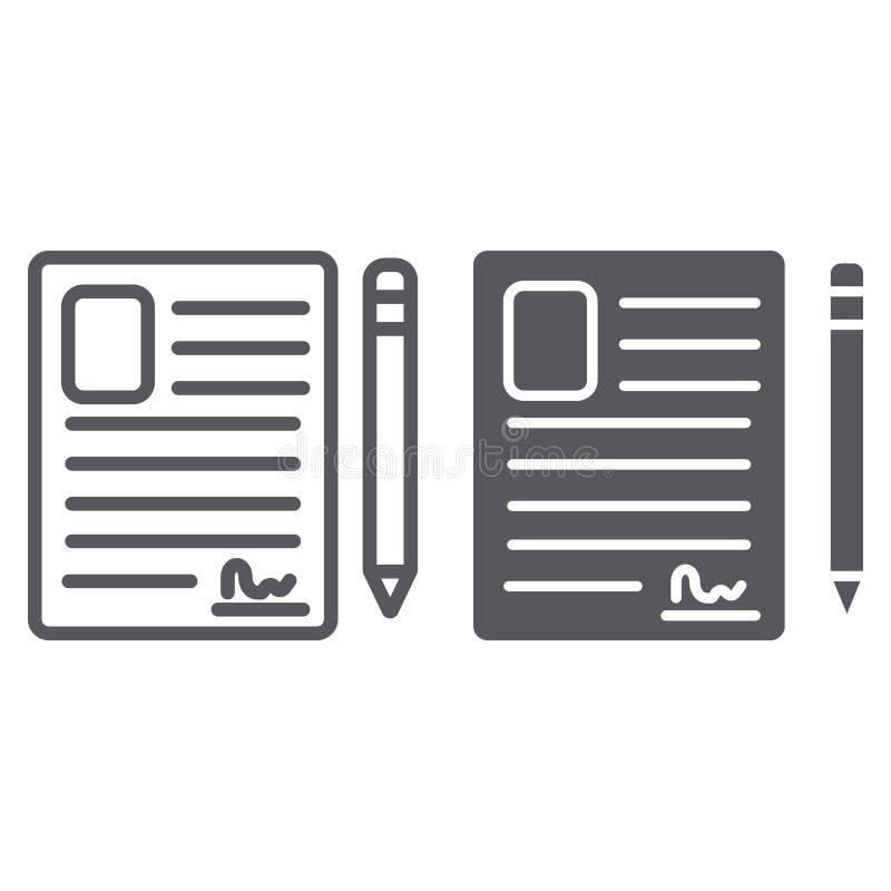 Kontaktowa formy linia, glif ikona, puste miejsce i rejestr, dokumentu znak, wektorowe grafika, liniowy wzór na bielu royalty ilustracja