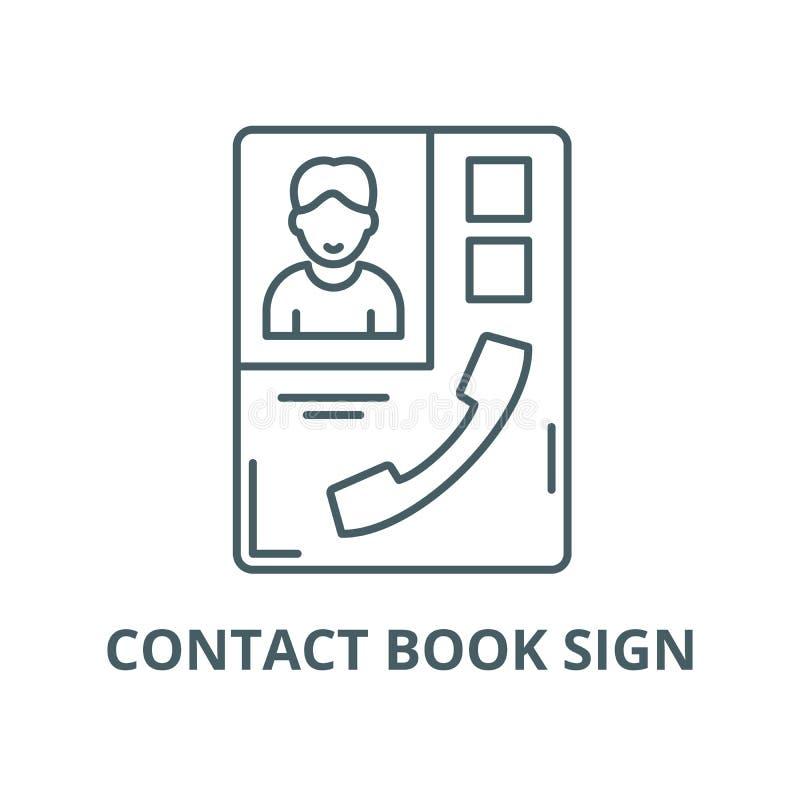 KONTAKTOWA książka znaka wektoru linii ikona, liniowy pojęcie, konturu znak, symbol ilustracja wektor